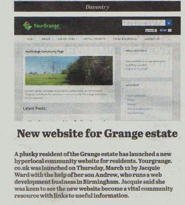 yourgrange newspaper article